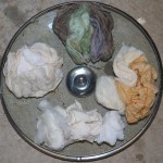 Wool, cotton and silk ready to dye.